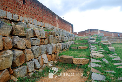 The lower portion is made of stones - Devanahalli Fort, Karnataka.