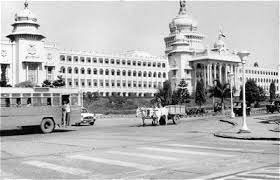 Vidhana Soudha, Bangalore A bullock cart and a bus in the backdrop of the Secretariat, 1980
